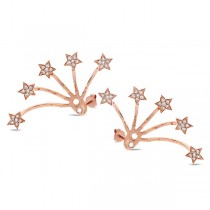 0.27ct 14k Rose Gold Diamond Star Ear Jacket Earrings With Studs