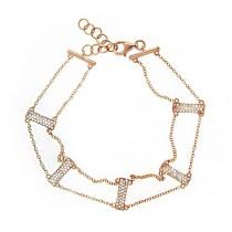 0.40ct 14k Rose Gold Diamond Ladder Bracelet