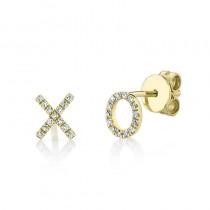 0.09ct 14k Yellow Gold Diamond ''xo'' Stud Earrings