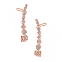 0.41ct 14k Rose Gold Diamond Ear Crawler Earrings