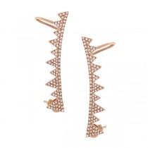 0.52ct 14k Rose Gold Diamond Ear Crawler Earrings