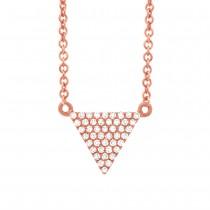 0.13ct 14k Rose Gold Diamond Pave Triangle Necklace