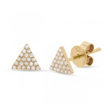 0.12ct 14k Yellow Gold Diamond Pave Triangle Earrings