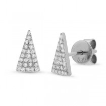 0.12ct 14k White Gold Diamond Pave Triangle Earrings