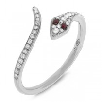 0.19ct Diamond & 0.03ct Ruby 14k White Gold Snake Ring
