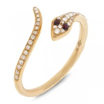 0.19ct Diamond & 0.03ct Ruby 14k Yellow Gold Snake Ring