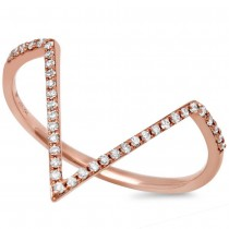 0.11ct 14k Rose Gold Diamond Lady's Ring Size 8