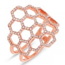 0.47ct 14k Rose Gold Diamond Honeycomb Ring