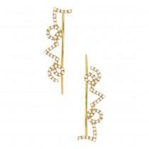0.23ct 14k Yellow Gold Diamond Ear Crawler Earrings
