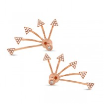 0.27ct 14k Rose Gold Diamond Triangle Ear Jacket Earrings With Studs