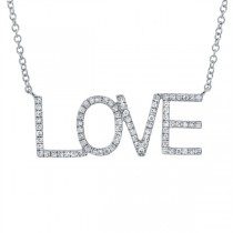 0.21ct 14k White Gold Diamond ''Love'' Necklace