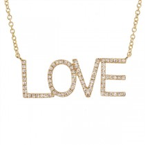 0.21ct 14k Yellow Gold Diamond ''Love'' Necklace