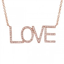 0.21ct 14k Rose Gold Diamond ''Love'' Necklace