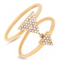 0.17ct 14k Yellow Gold Diamond Pave Triangle Ring