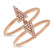 0.14ct 14k Rose Gold Diamond Pave Triangle Ring