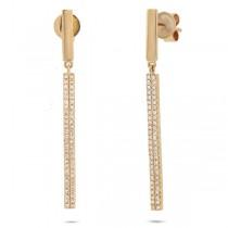 0.28ct 14k Yellow Gold Diamond Bar Earrings