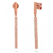 0.28ct 14k Rose Gold Diamond Bar Earrings
