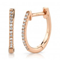 0.08ct 14k Rose Gold Diamond Huggie Earrings