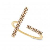 0.14ct 14k Yellow Gold Diamond Bar Lady's Ring