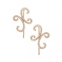 0.31ct 14k Yellow Gold Diamond Ear Crawler Earrings