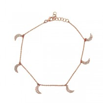 0.35ct 14k Rose Gold Diamond Crescent Moon Anklet
