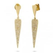 0.36ct 14k Yellow Gold Diamond Pave Earrings