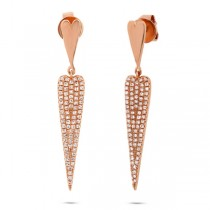 0.36ct 14k Rose Gold Diamond Pave Earrings