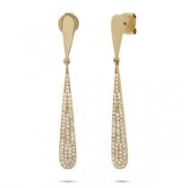 0.31ct 14k Yellow Gold Diamond Pave Earrings