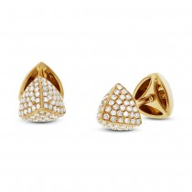 0.31ct 14k Yellow Gold Diamond Pave Pyramid Earrings