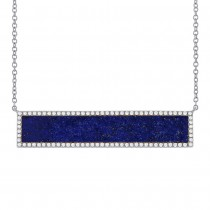 0.24ct Diamond & 2.98ct Lapis 14k White Gold Bar Necklace