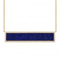 0.24ct Diamond & 2.98ct Lapis 14k Yellow Gold Bar Necklace
