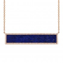 0.24ct Diamond & 2.98ct Lapis 14k Rose Gold Bar Necklace