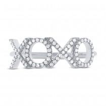 0.18ct 14k White Gold Diamond ''XOXO'' Ring