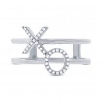 0.09ct 14k White Gold Diamond ''XO'' Ring