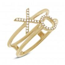 0.09ct 14k Yellow Gold Diamond ''XO'' Ring