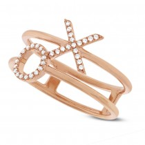 0.09ct 14k Rose Gold Diamond ''XO'' Ring