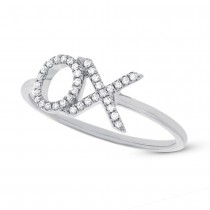 0.09ct 14k White Gold Diamond ''XO'' Ring