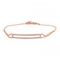 0.18ct 14k Rose Gold Diamond Bar Bracelet