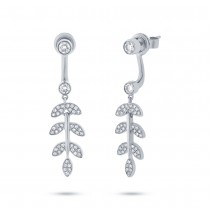 0.47ct 14k White Gold Diamond Leaf Ear Jacket Earrings With Studs