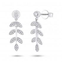 0.32ct 14k White Gold Diamond Leaf Earrings