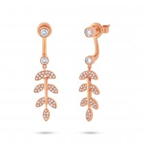 0.47ct 14k Rose Gold Diamond Leaf Ear Jacket Earrings With Studs