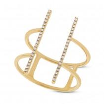 0.11ct 14k Yellow Gold Diamond Bar Lady's Ring