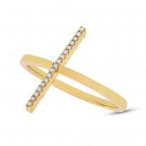 0.15ct 14k Yellow Gold Black & White Diamond Bar Lady's Ring Size 6