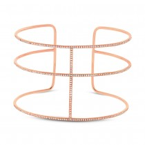 0.76ct 14k Rose Gold Diamond Bangle Bracelet