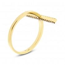 0.15ct 14k Yellow Gold White & Champagne Diamond Bar Lady's Ring