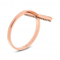0.15ct 14k Rose Gold White & Champagne Diamond Bar Lady's Ring