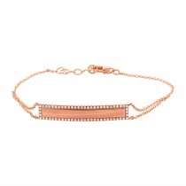 0.20ct 14k Rose Gold Diamond Bar ID Bracelet