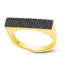 0.30ct 14k Yellow Gold Black Diamond Pave Lady's Ring Size 9