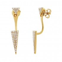 0.21ct 14k Yellow Gold Diamond Pave Triangle Ear Jacket Earrings With Studs