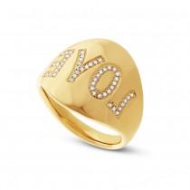0.14ct 14k Yellow Gold Diamond ''Love'' Ring